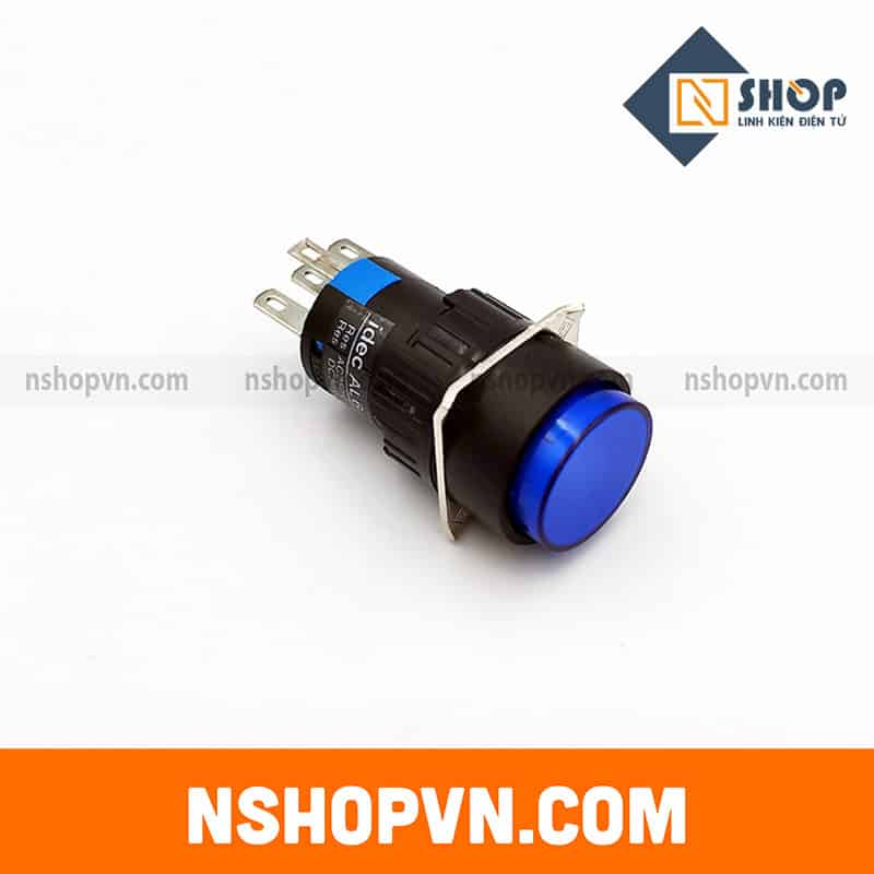 Nút nhấn tự giữ có đèn AL6-A 12V màu xanh dương