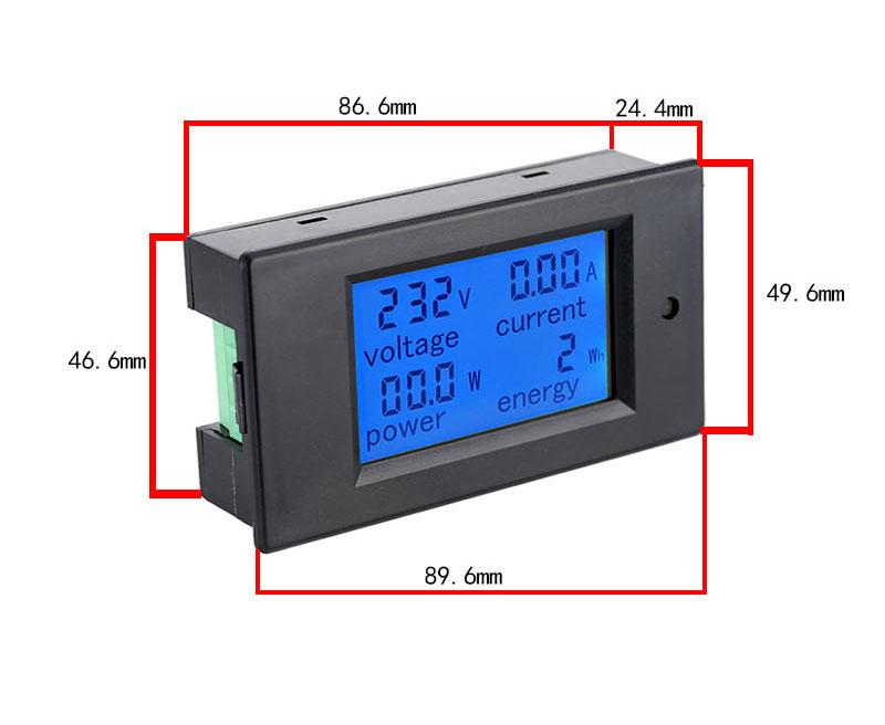 Kích thước của Đồng hồ đo dòng âp công suất mức năng lượng DC 100A kèm trở shunt