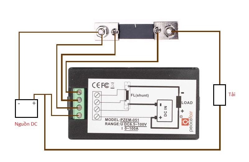 Sơ đồ kết nối của Đồng hồ đo dòng âp công suất mức năng lượng DC 100A kèm trở shunt