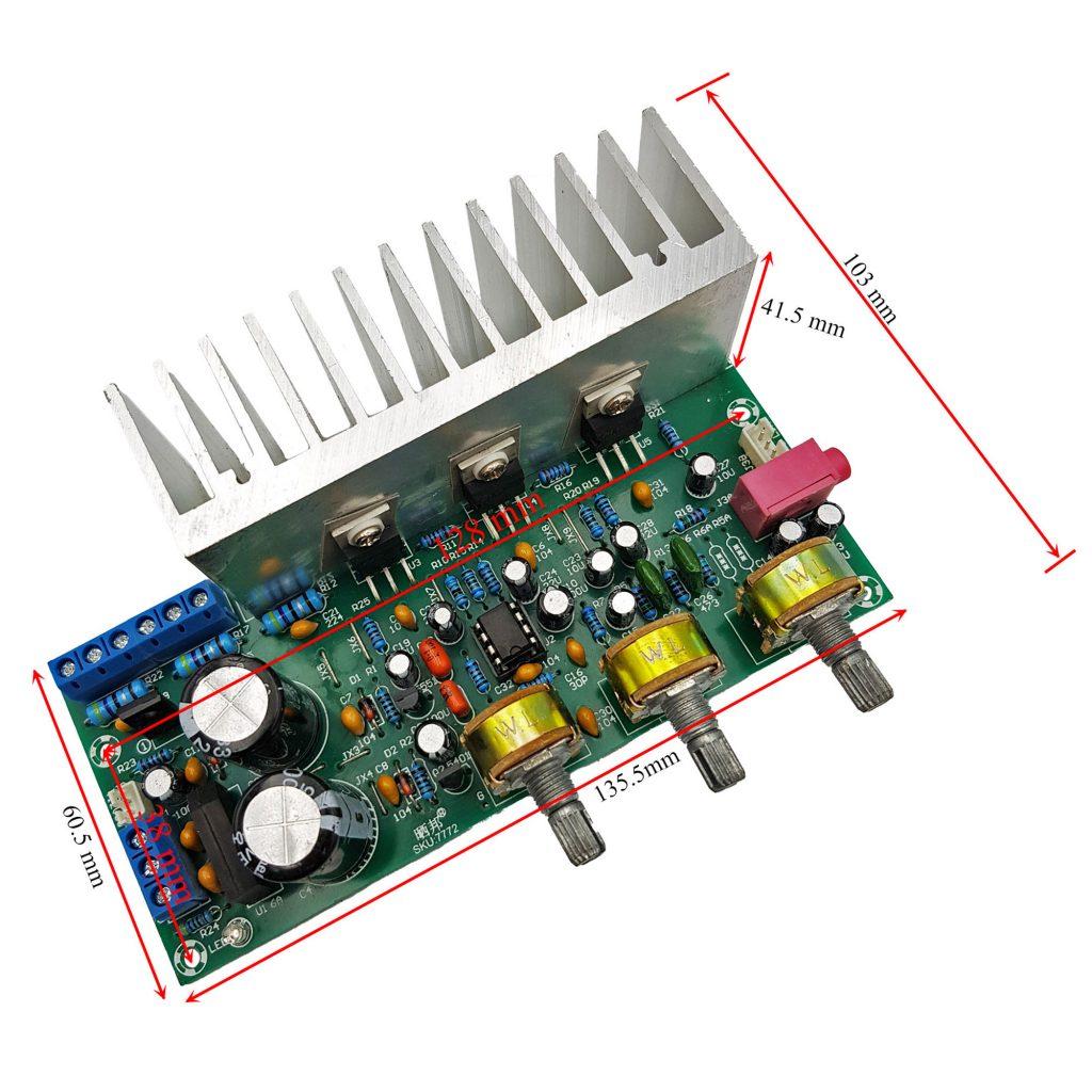 Kích thước của Mạch khuếch đại âm thanh công suất cao TDA2050 + TDA2030