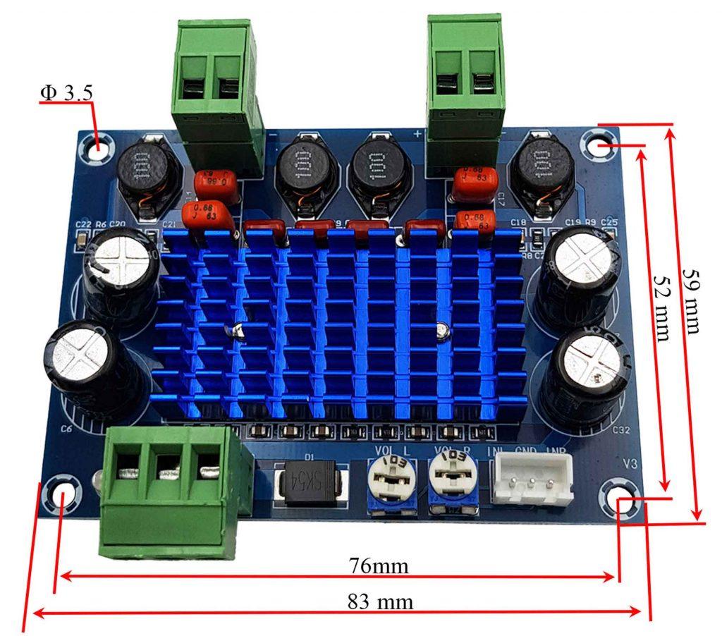 Kích thước Mạch khuếch đại âm thanh công suất cao XH-M572 TPA3116D2 2x120W