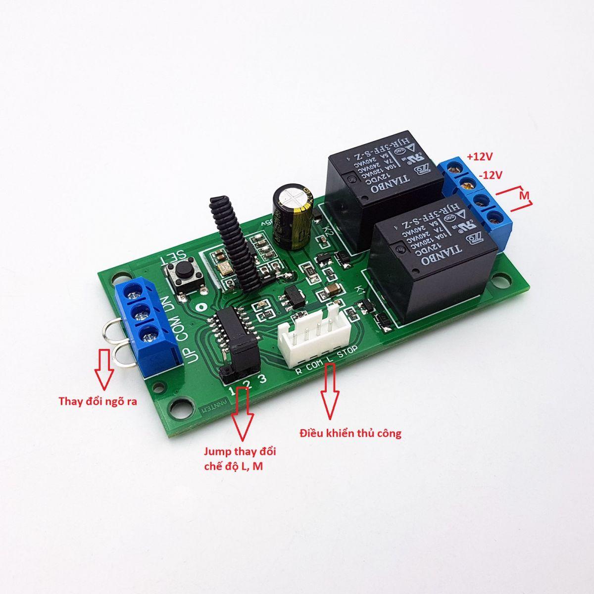 Mạch điều khiển đảo chiều động cơ từ xa 12VDC