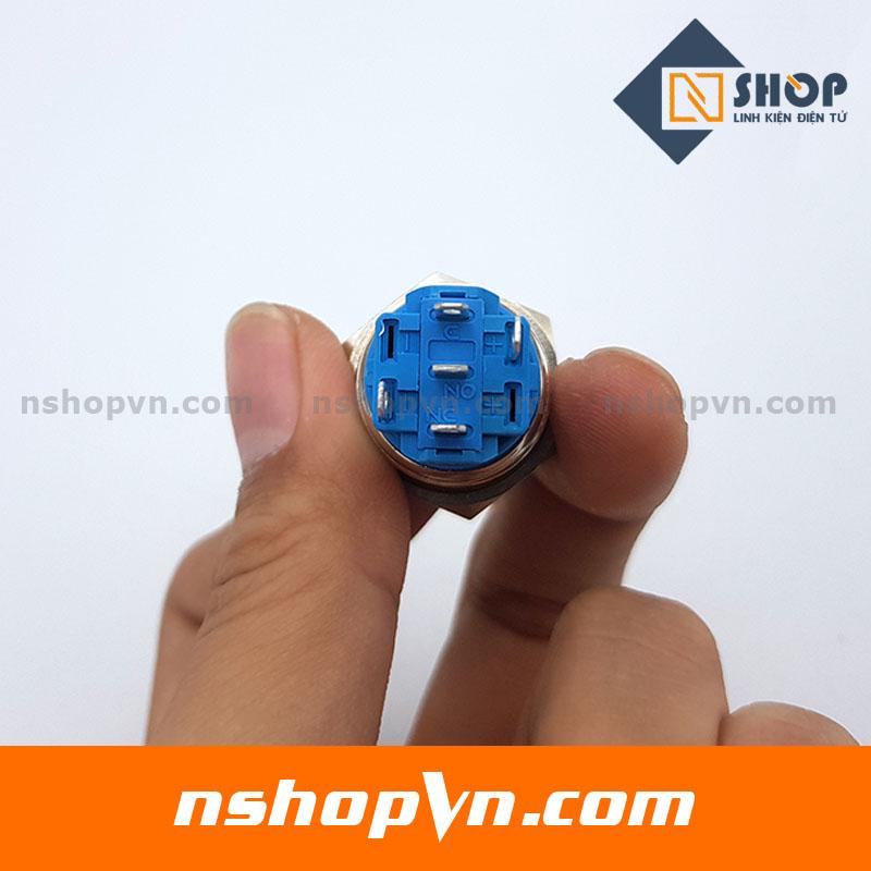 Nút nhấn tự giữ kim loại 19mm đỏ