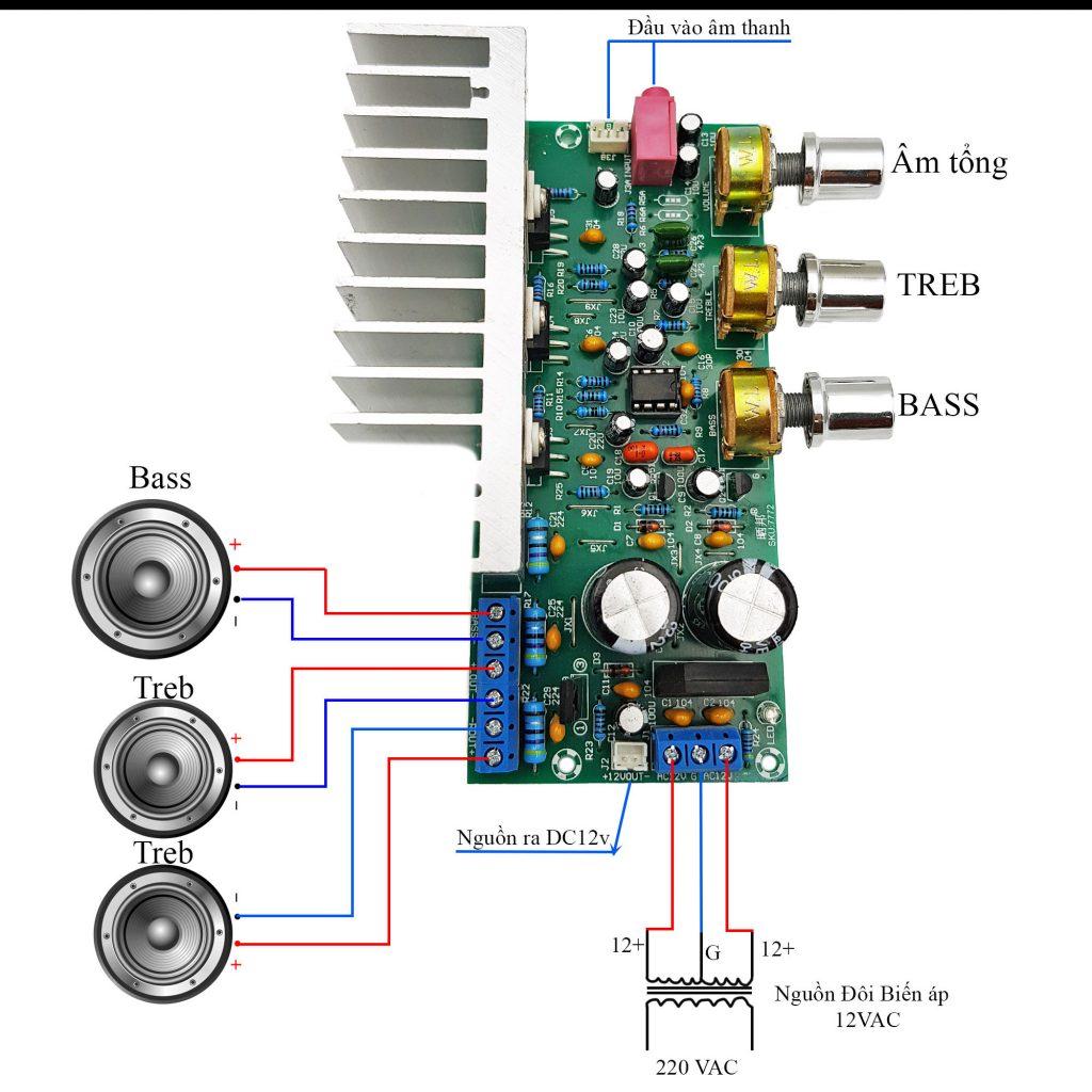 Sơ đồ đấiu nối Kích thước của Mạch khuếch đại âm thanh công suất cao TDA2050 + TDA2030