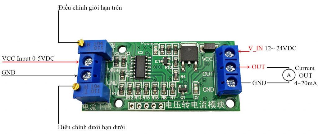 Sơ đồ đấu nối Mạch chuyển tín hiệu điện áp sang dòng điện (0-5V sang 4-20mA)
