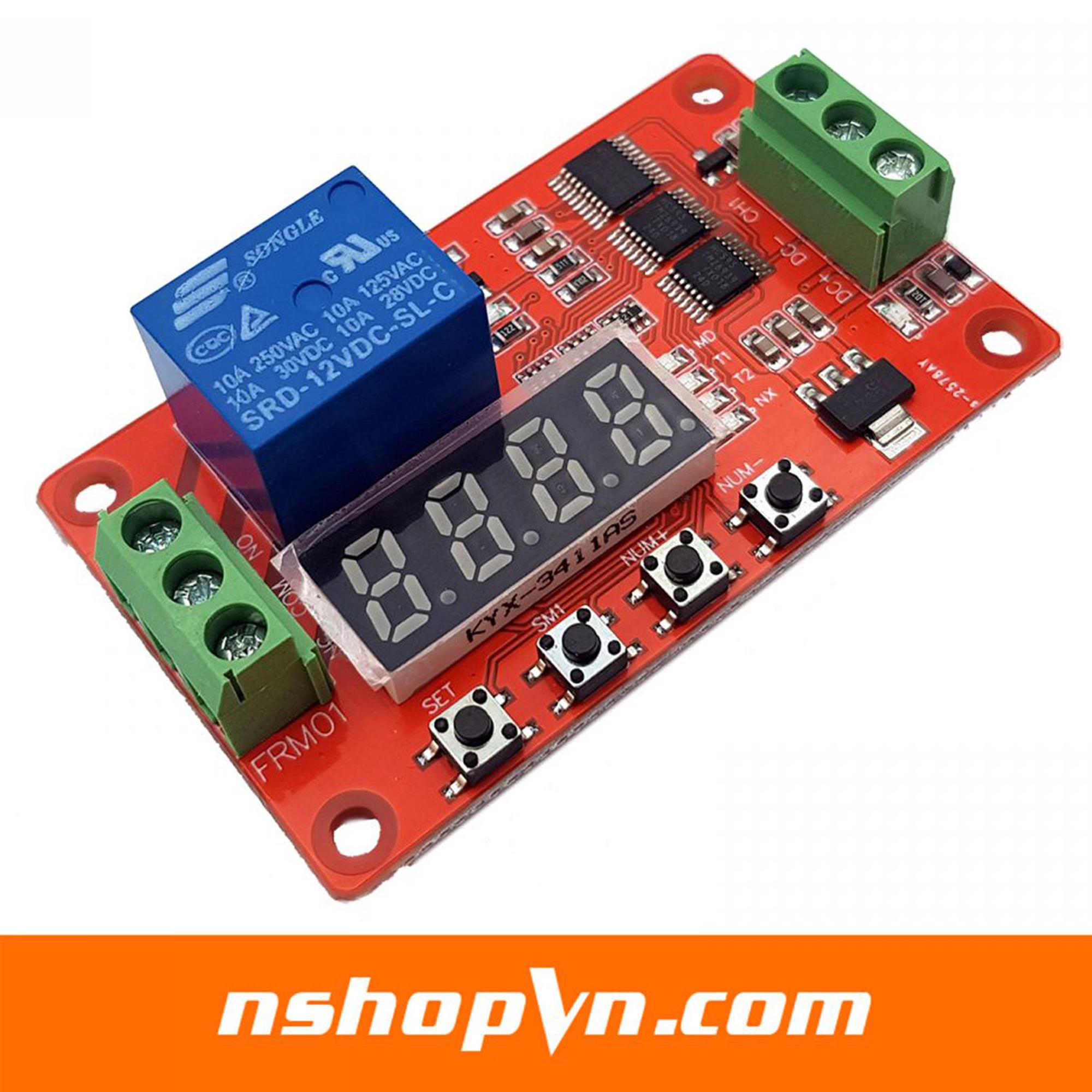 Mạch tạo trễ relay đóng ngắt theo chu kỳ FRM01 12VDC