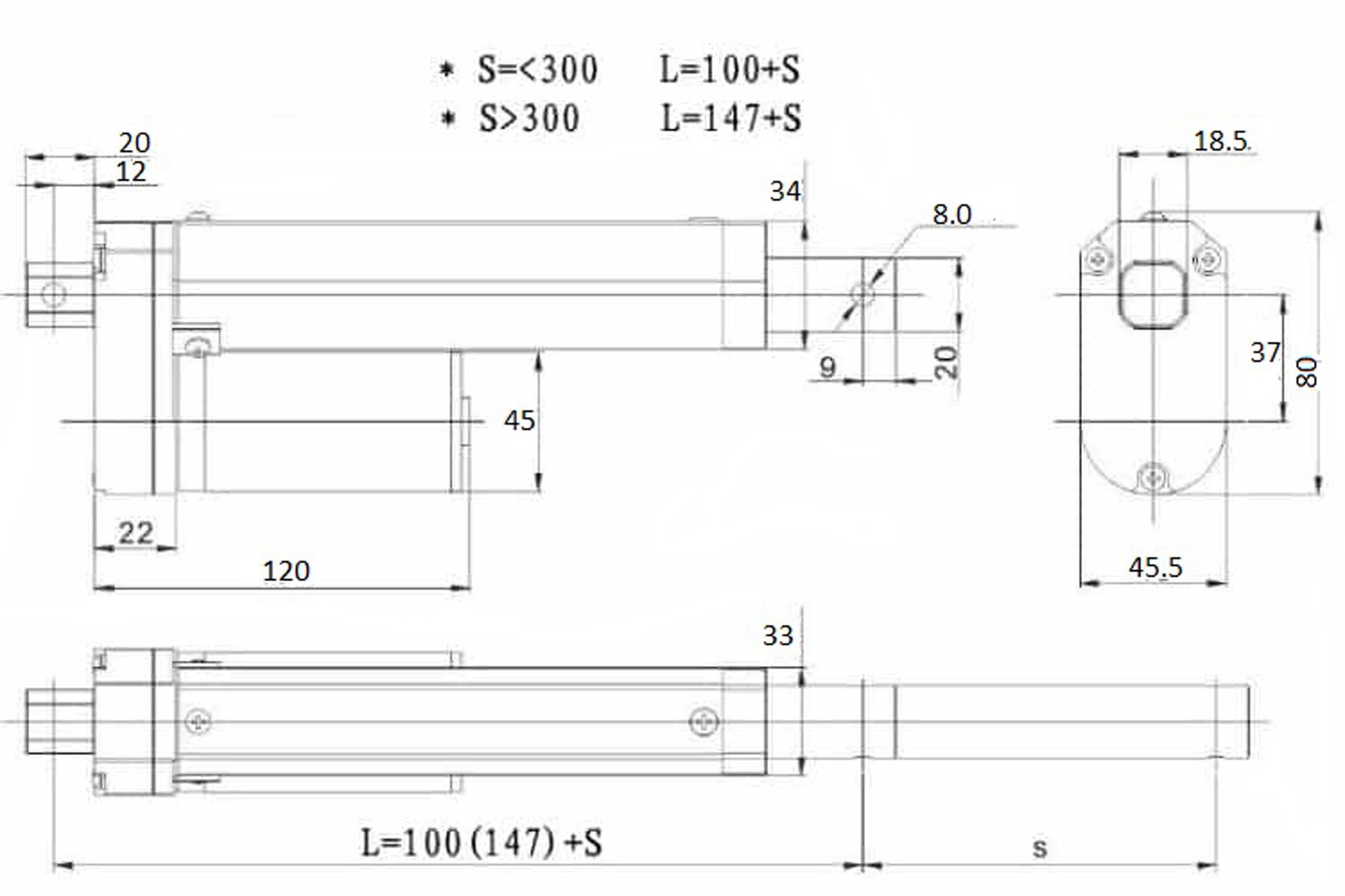 Kích thước của các xi lanh điện 24V có lực nâng 1500N