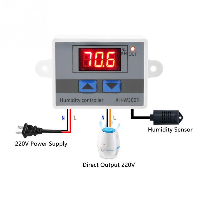 Sơ đồ kết nối tham khảo Bộ khống chế độ ẩm XH-W3005 220V 1500W