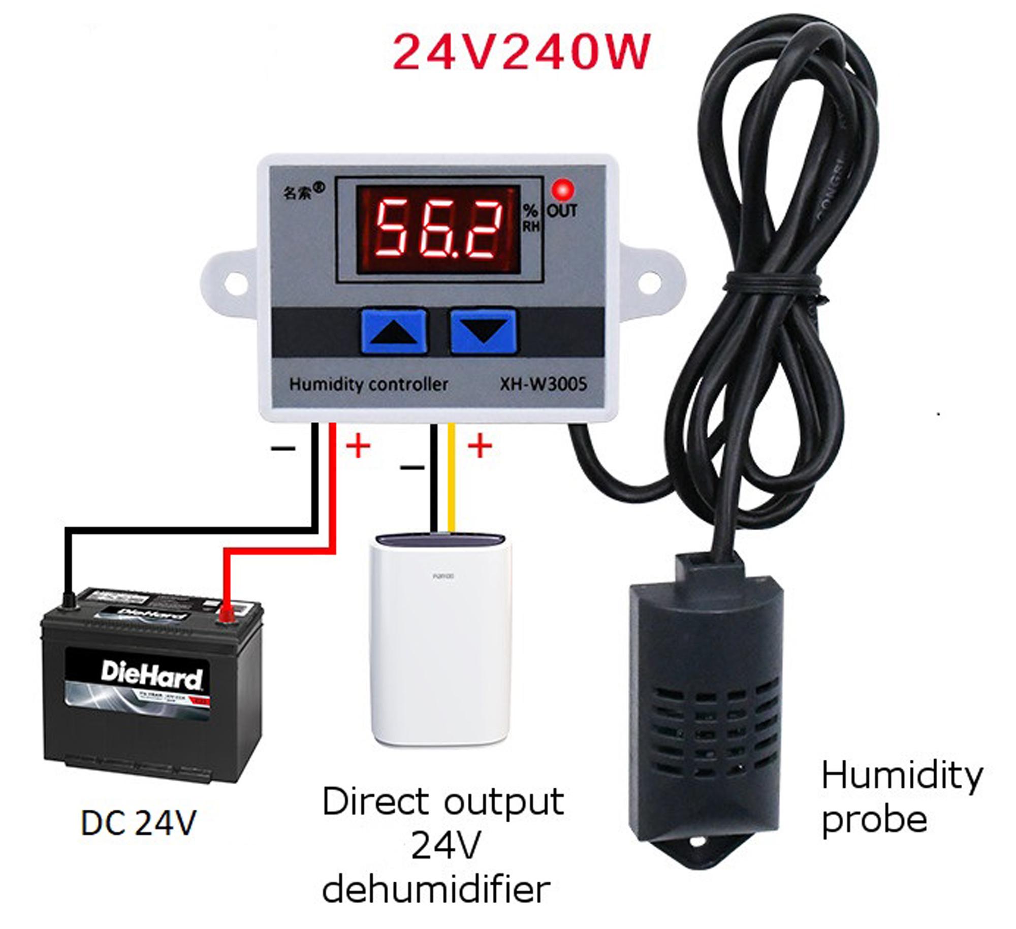 Sơ đồ kết nối tham khảo cho Bộ khống chế độ ẩm XH-W3005 24VDC 240W
