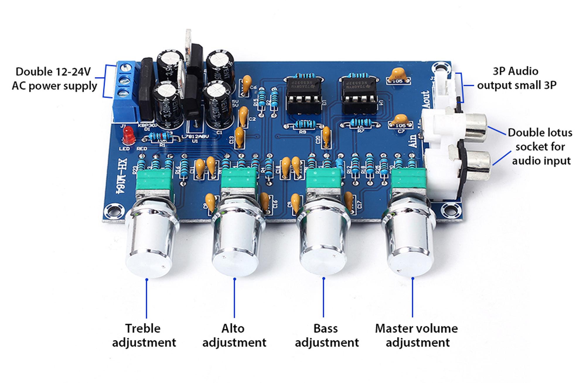 Sơ đồ mạch của Mạch điều chỉnh âm sắc XH-M164 NE5532P