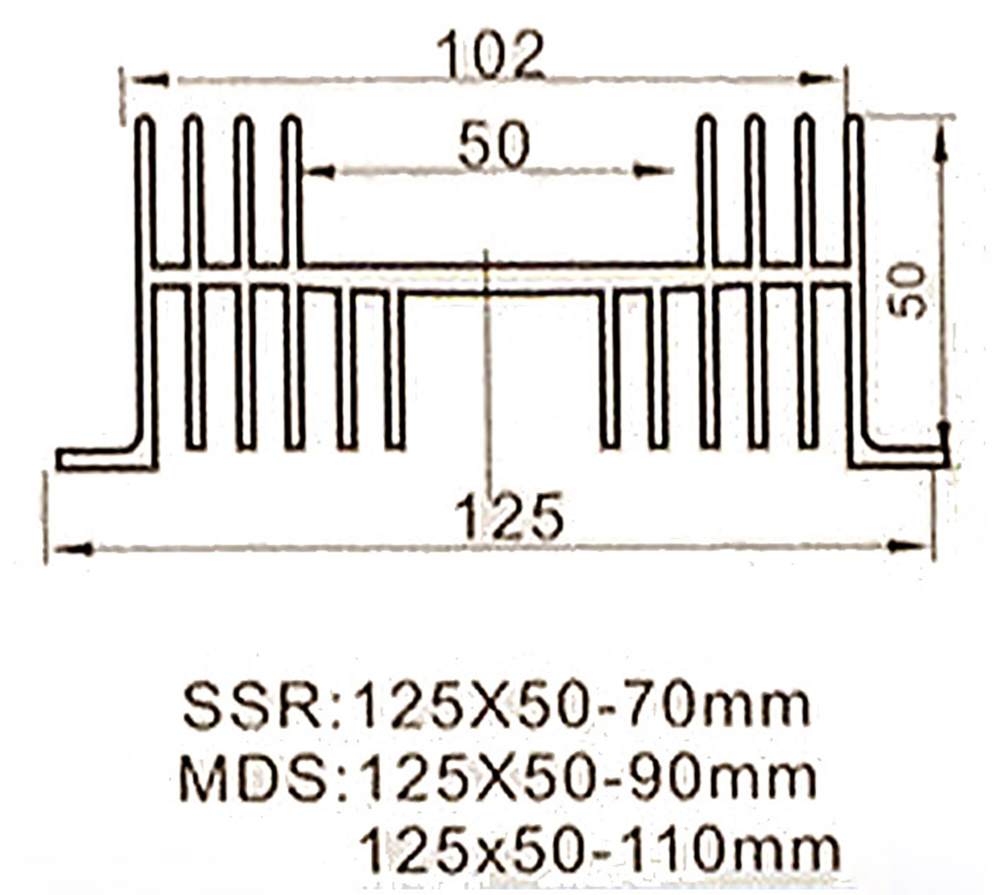 Kích thước Đế nhôm tản nhiệt Relay rắn SSR kiểu M