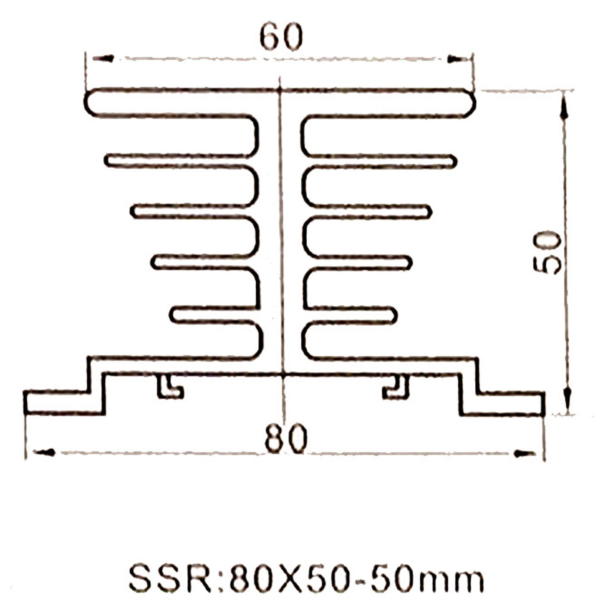 Kích thước Đế nhôm tản nhiệt Relay rắn SSR FI-50