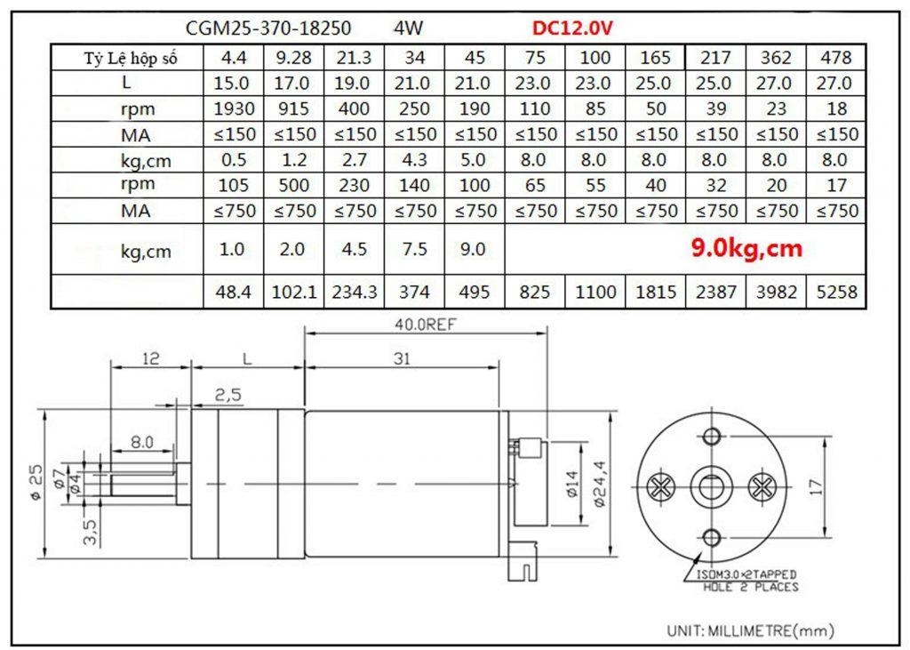 Sơ Đồ Động cơ DC giảm tốc GA25 Encoder