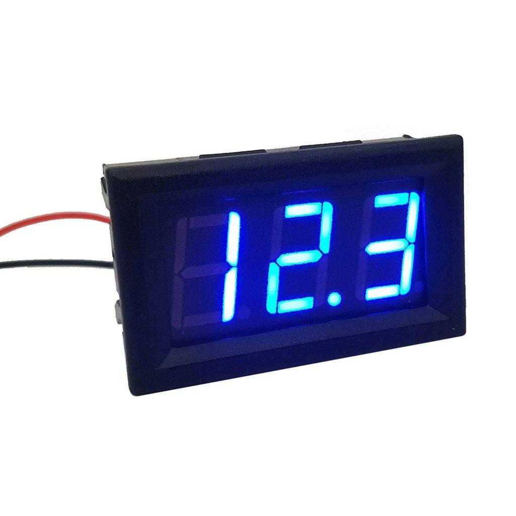 Đồng hồ đo áp DC 30V 2 dây 0.56 inch có vỏ bảo vệ, màu xanh dương