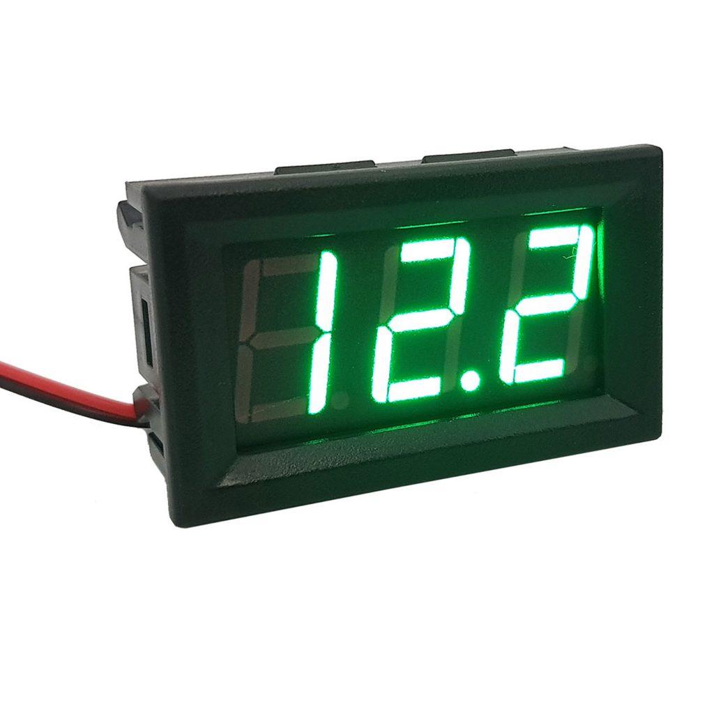 Đồng hồ đo áp DC 30V 2 dây 0.56 inch có vỏ bảo vệ, màu xanh lá
