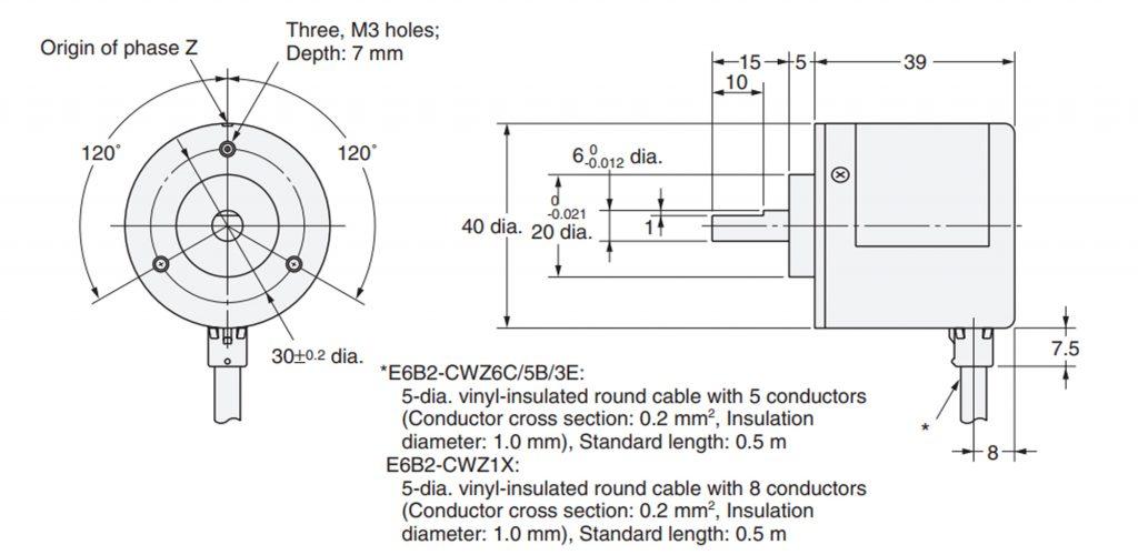 Sơ đồ kích thước của Encoder Omron E6B2 - CWZ6C 1000 xung