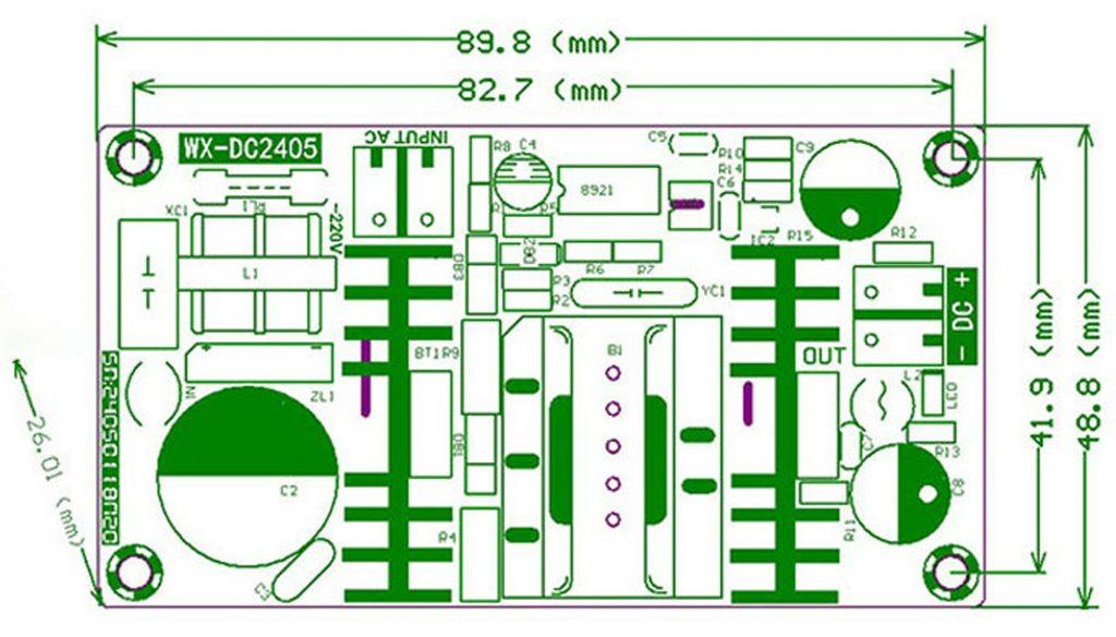 Kích thước của Module nguồn 12V 4A