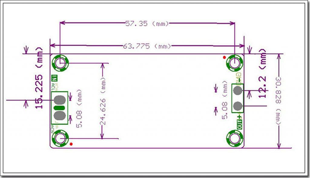 Kích thước của Module nguồn 5V 2A
