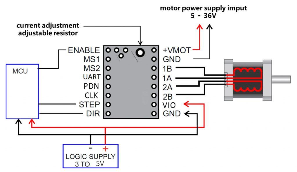 Sơ đồ mạch của Mạch điều khiển động cơ bước TMC2208 V1.2