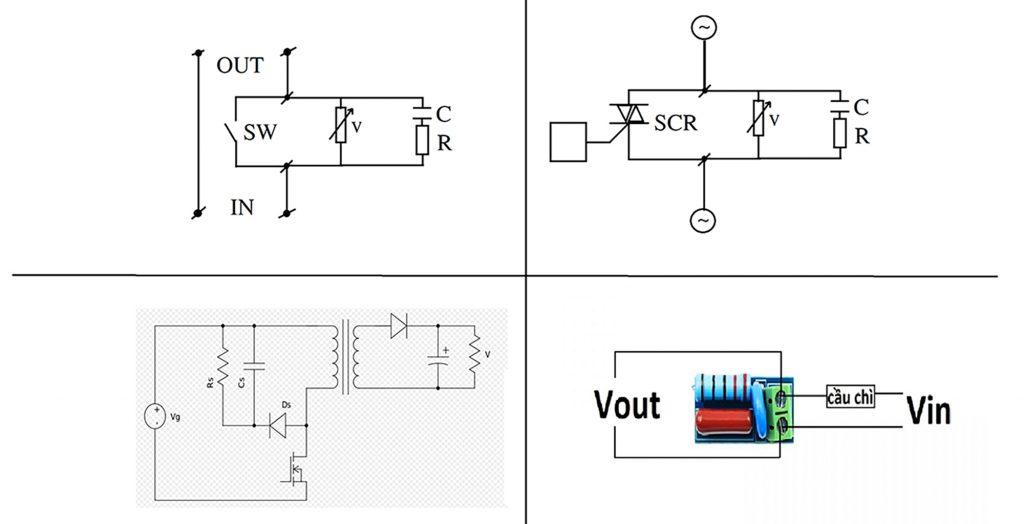 Sơ đồ đấu nối của Mạch chống nhiễu điện từ, bảo vệ tiếp điểm LC Technology
