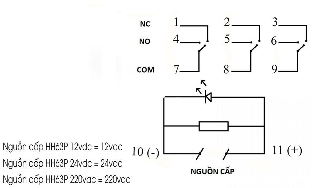 Sơ đồ mạch của Relay trung gian ECNKO HH63P