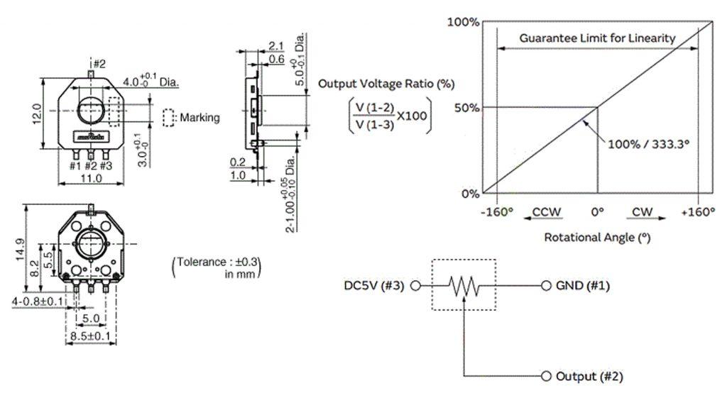 Thông số kỹ thuật của Cảm biến góc xoay MCU-103 SV01A103AEA01R00