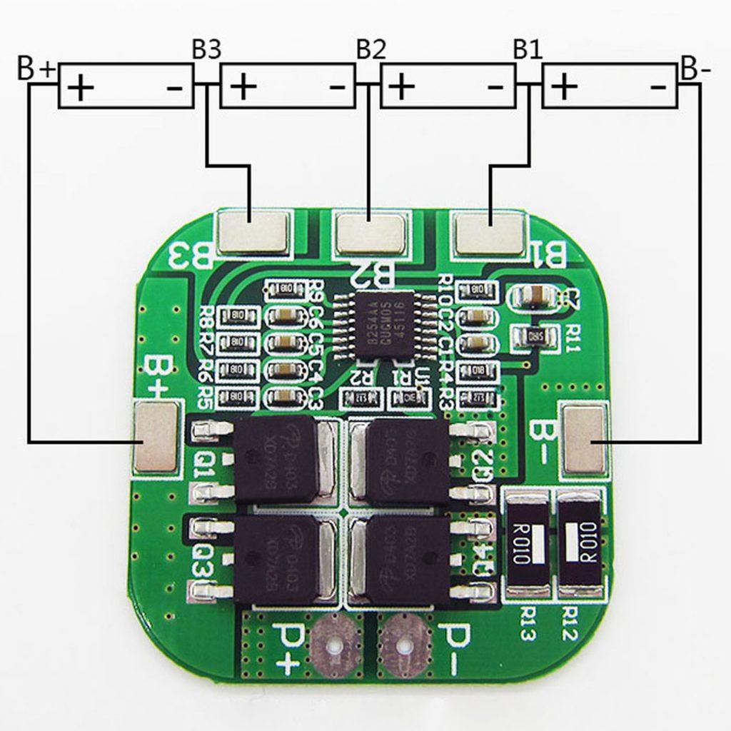 Sơ đồ đấu nối của Mạch sạc xả và bảo vệ pin 4s HX-4S-D20