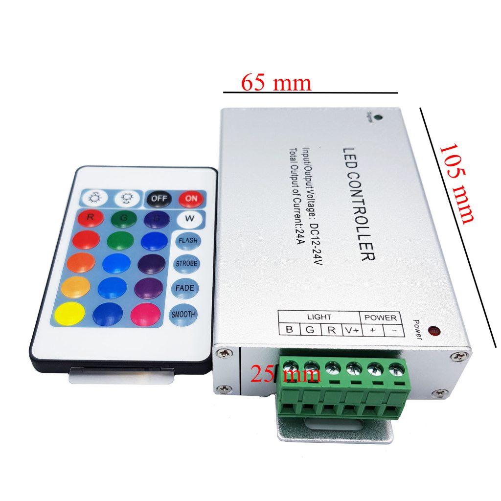 Kích thước của Bộ điều khiển Led Rgb Controller 12-24V 24A