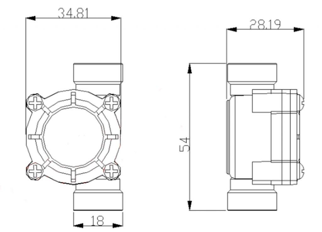 Kích thước của Cảm biến lưu lượng nước máy pha chế Sea YF-S402B