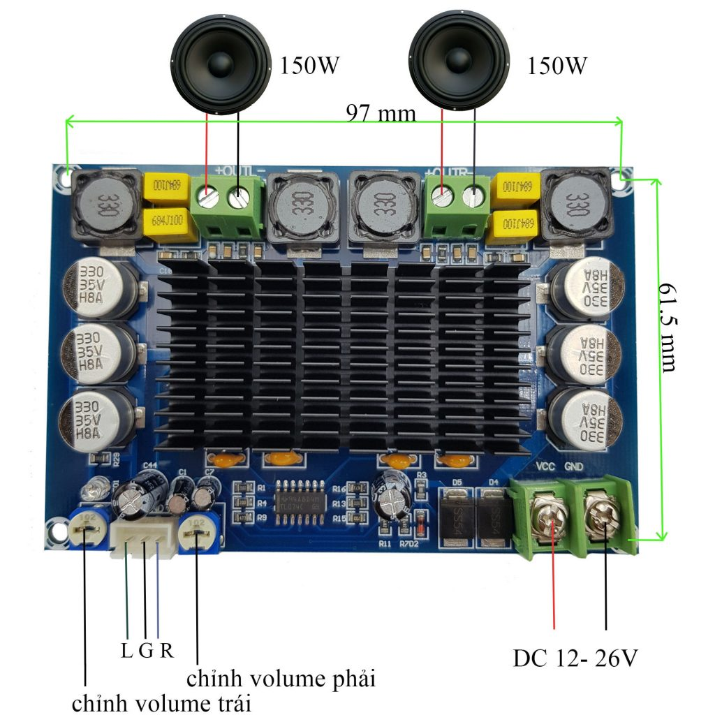 Kích thước của Mạch khuếch đại âm thanh TPA3116D2 XH-M569 150W x 2
