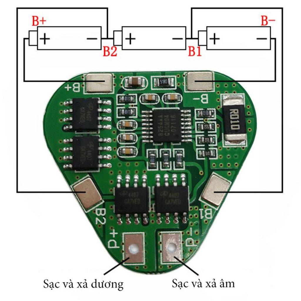 Sơ đồ kết nối của Mạch sạc và bảo vệ pin 3s 12.6V HX-3s-03