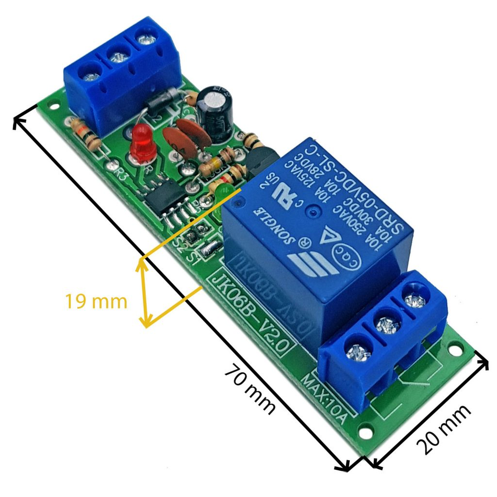 Kích thước của Module kích hoạt relay bằng nút nhấn, cảm biến JK06B-V2.0