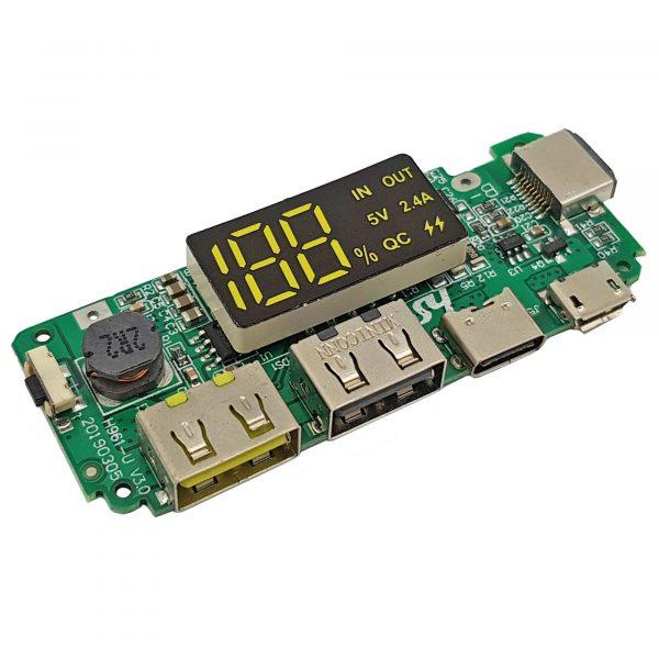 Mạch sạc dự phòng 2 cổng USB, Iphone, Micro USB và Type-C 5V 2.4A