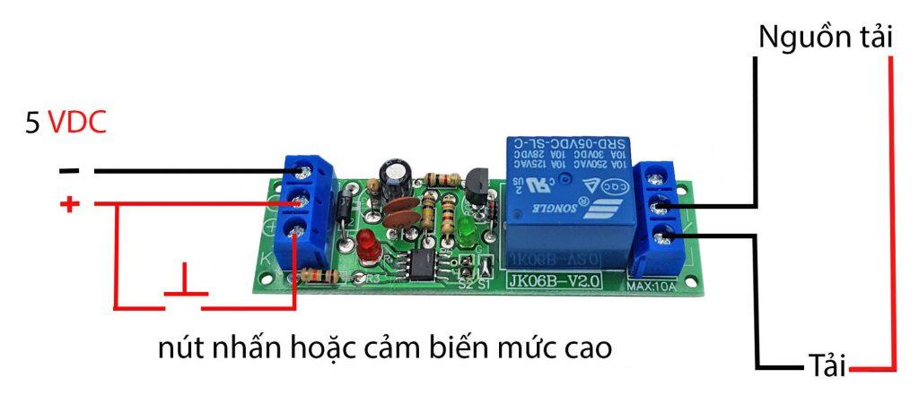 Sơ đồ đấu nối của Module kích hoạt relay bằng nút nhấn, cảm biến JK06B-V2.0