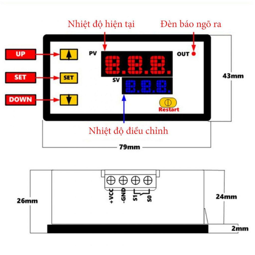 Sơ đồ kích thước của Bộ khống chế nhiệt độ Type-K 500 độ C 12VDC / 220VAC