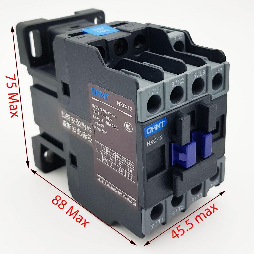 Kích thước của Contactor CHINT NXC-12 12A 5.5kW