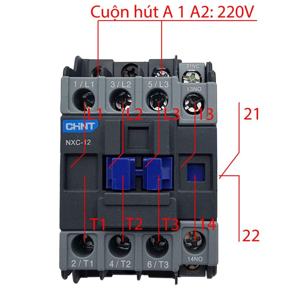 Sơ đồ nguyên lý của Contactor CHINT NXC-12 12A 5.5kW