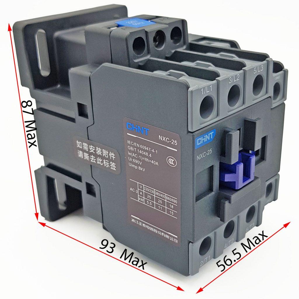 Kích thước của Contactor CHINT NXC-25 25A 11kW