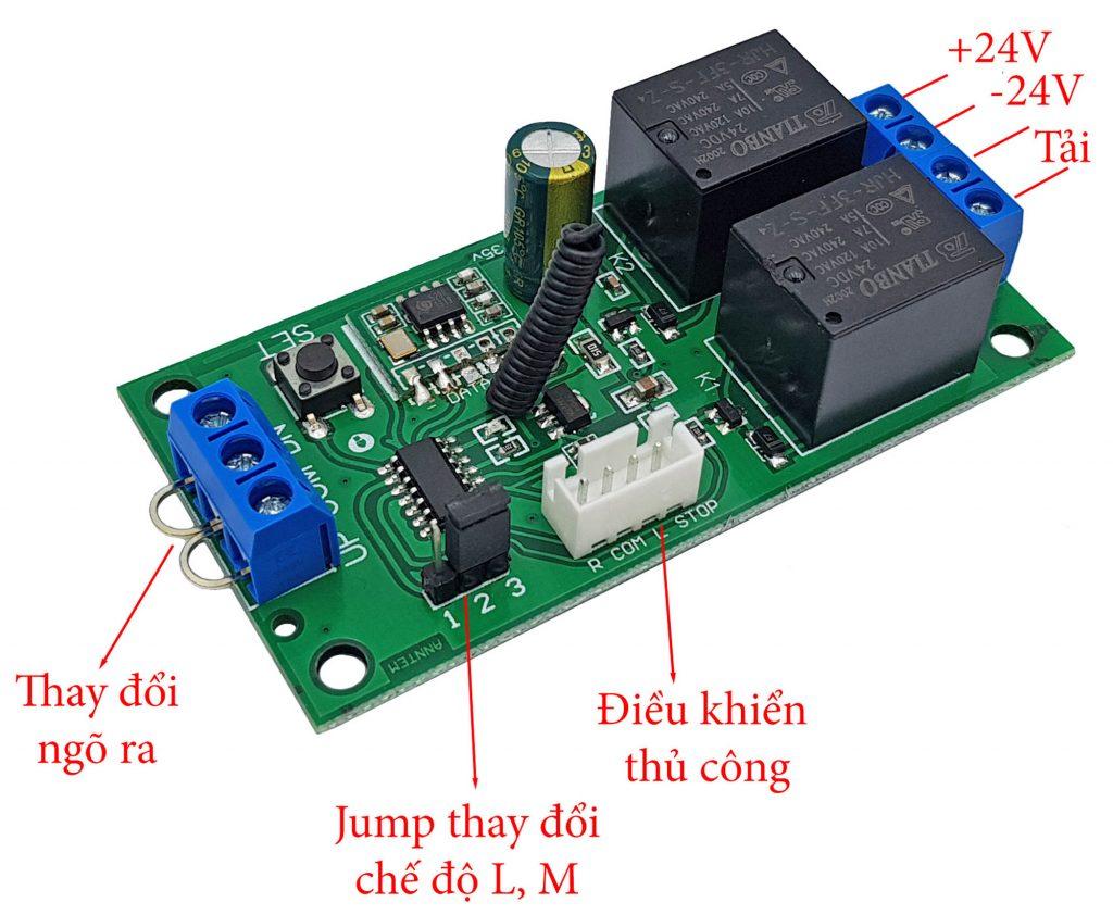 Hướng dẫn sử dụng Mạch điều khiển đảo chiều động cơ từ xa 24VDC 10A