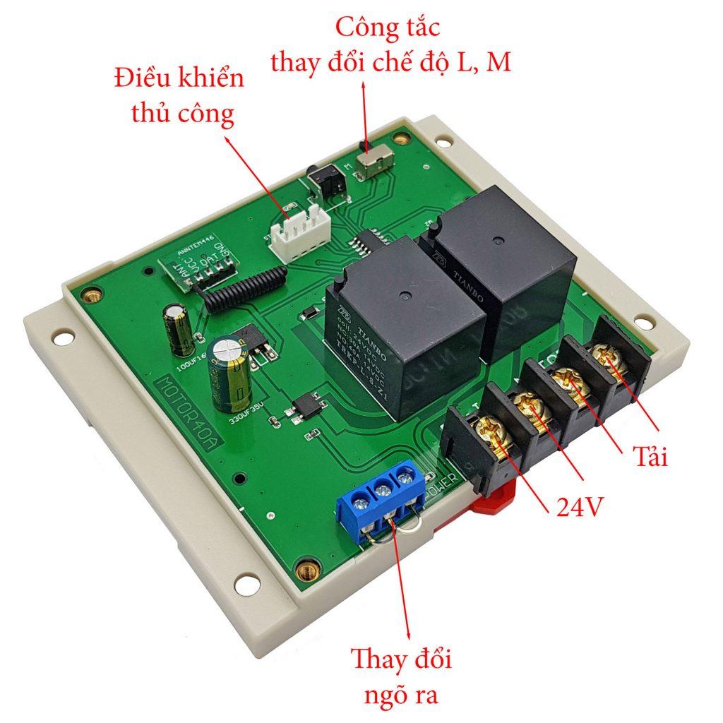 Hướng dẫn sử dụng cho Mạch điều khiển đảo chiều động cơ từ xa 12VDC 24VDC 40A