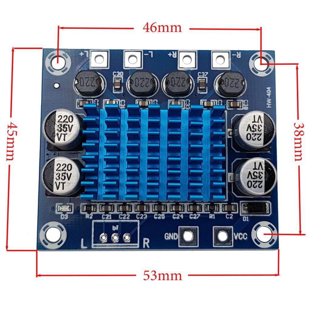 Kích thước của Mạch khuếch đại âm thanh XH-A232 - 2 x 30W
