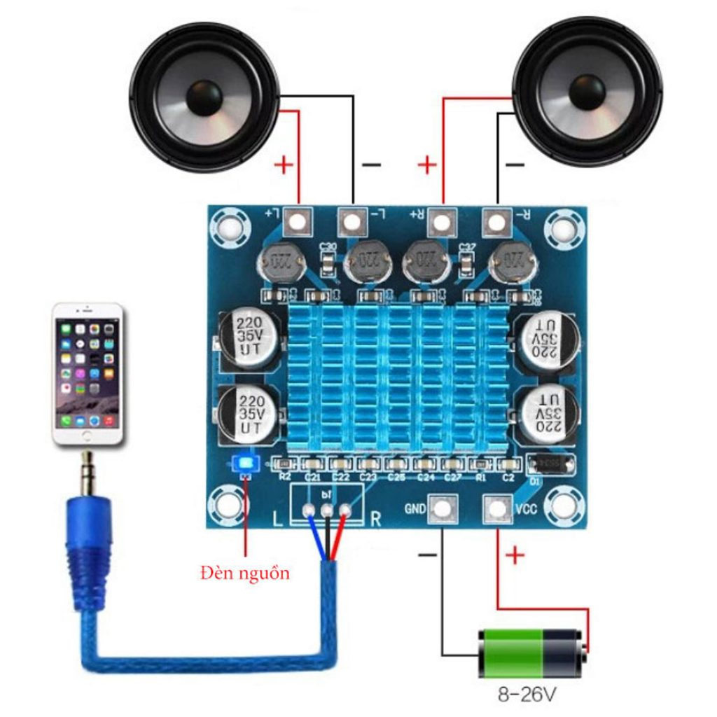 Sơ đồ đấu nối của Mạch khuếch đại âm thanh XH-A232 - 2 x 30W