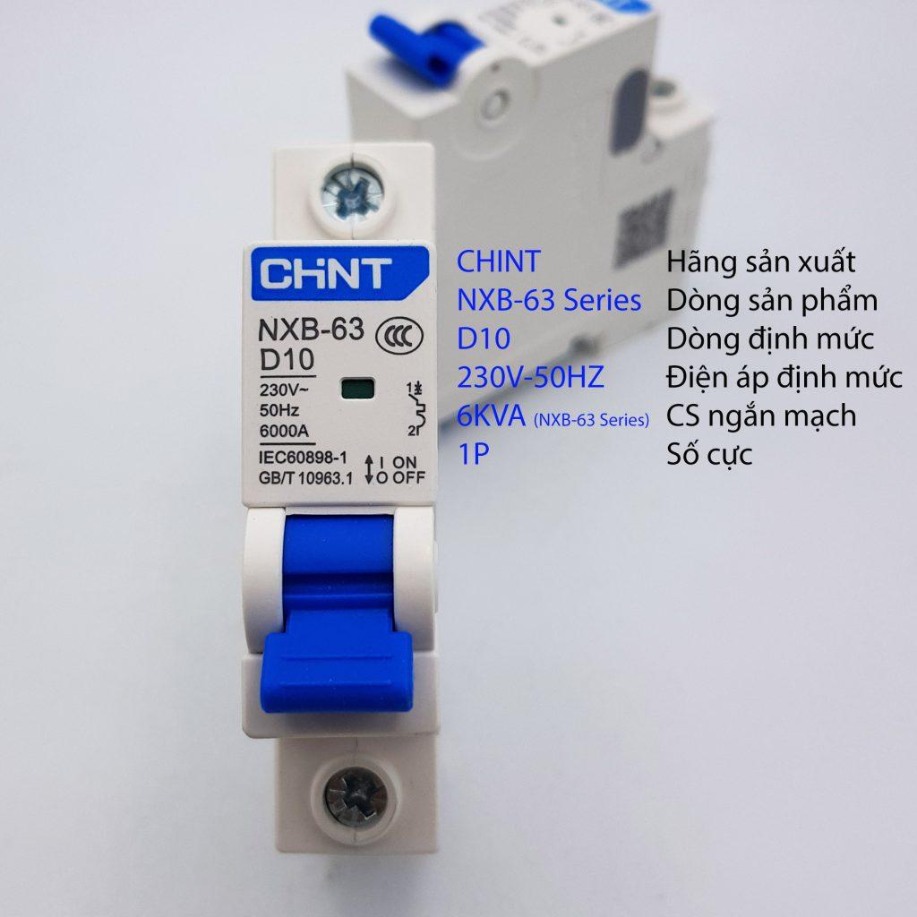 MCB 1P 6kA CHINT NXB-63 D10
