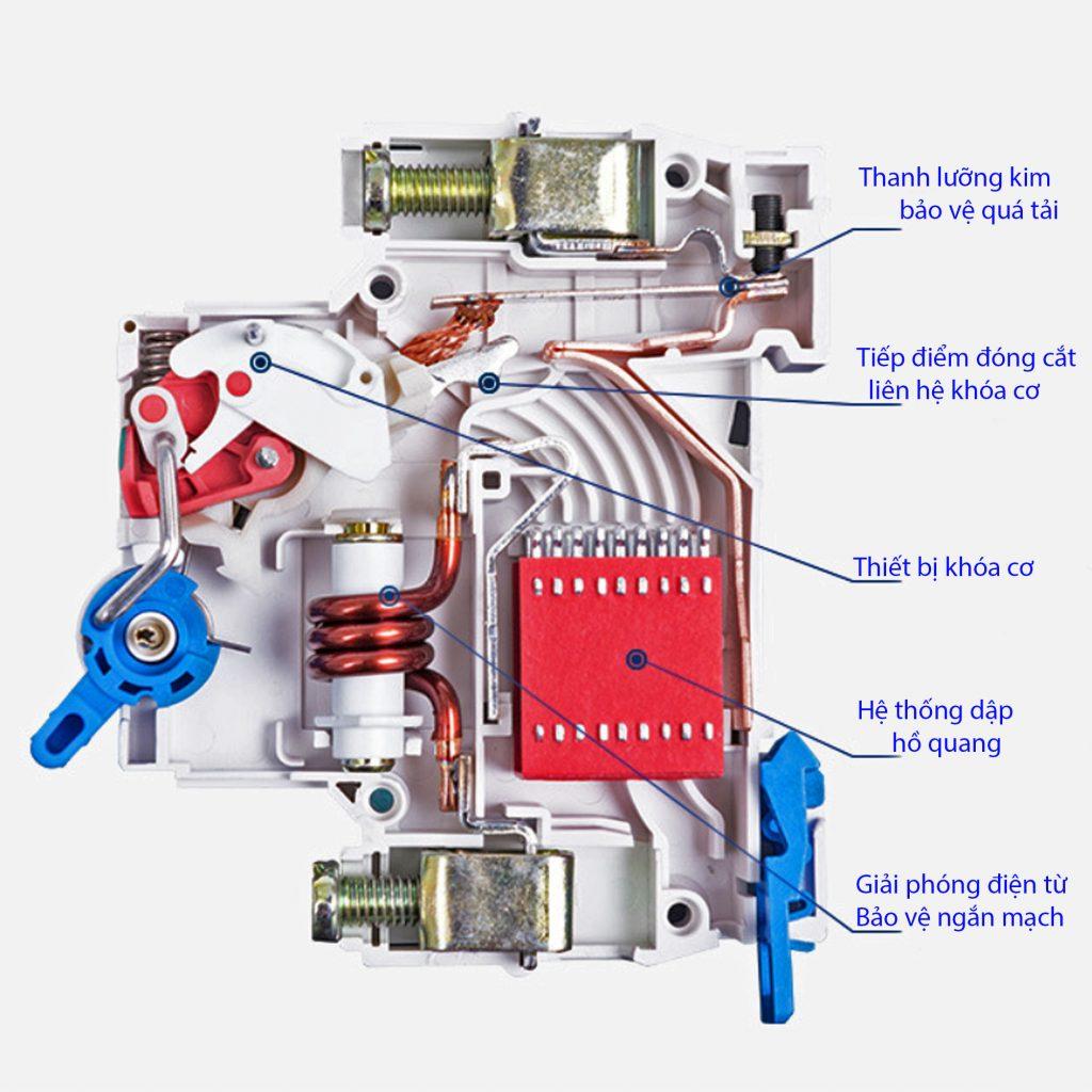 Sơ đồ cơ của MCB 1P 6kA CHINT NXB-63 (chung cho D20 và D63)