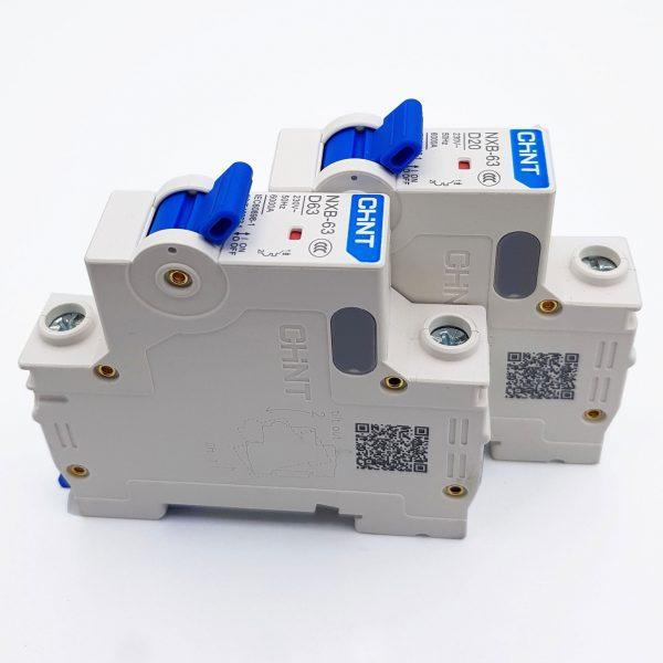 MCB 1P 6kA CHINT NXB-63 D20 (20A) và D63 (63A)