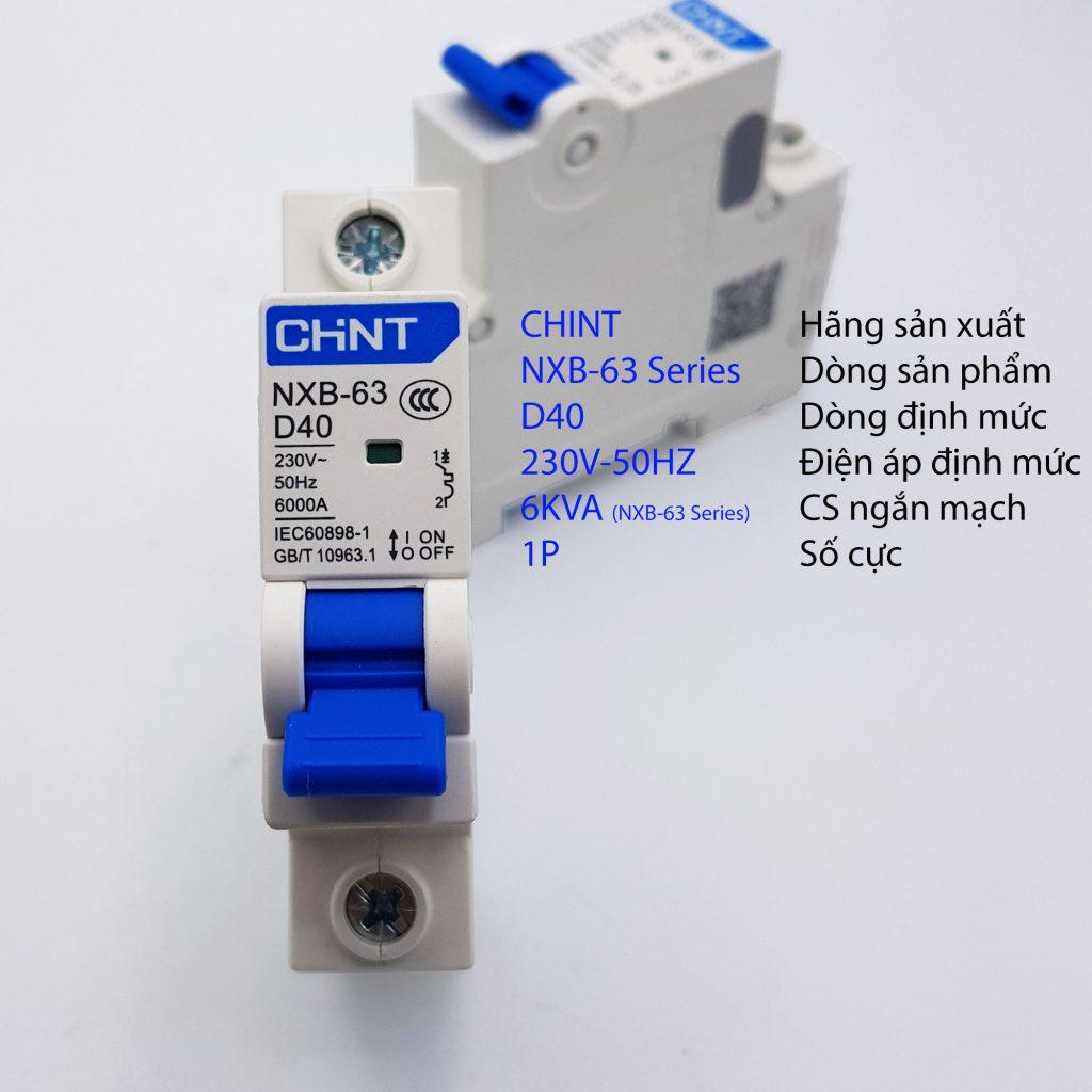 MCB 1P 6kA CHINT NXB-63 D40