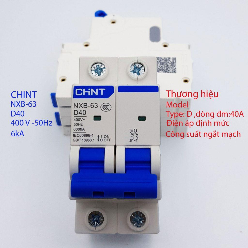 MCB 2P 40A 6kA (CHINT NXB-63-D40)