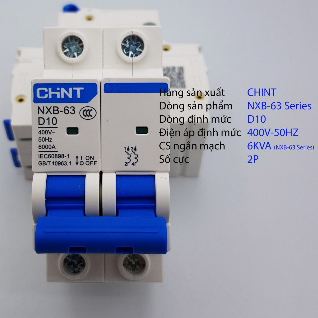 MCB 2P 6kA CHINT NXB-63 D10