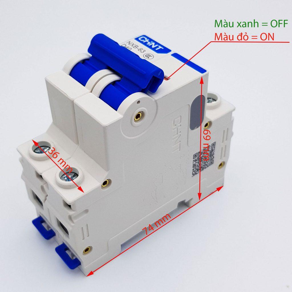 Kích thước của MCB 2P 6kA CHINT NXB-63 D40 (40A) và D20 (20A)