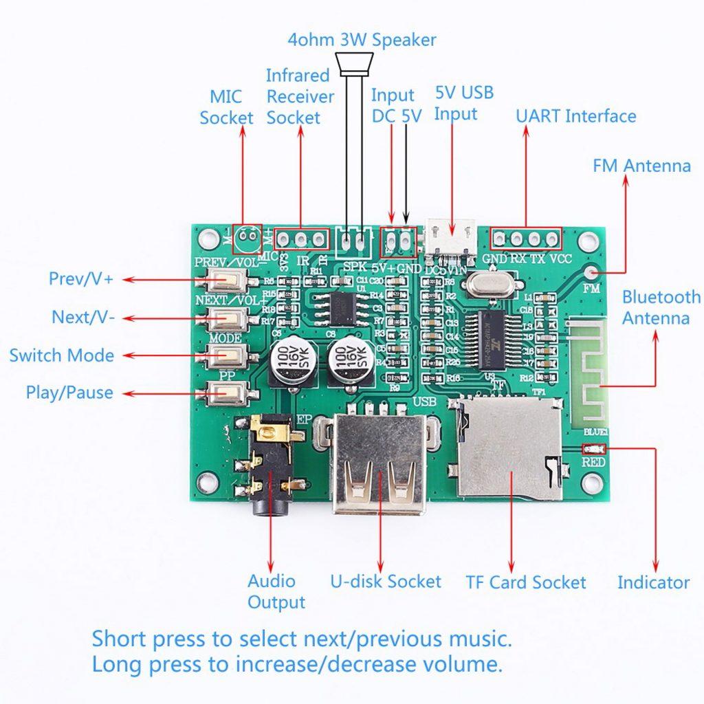 Sơ đồ của Mạch âm thanh Bluetooth 5.0 - TF - USB - FM - BLE - SPP BT201